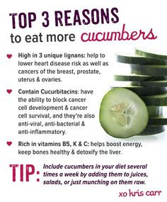 Reasons to Eat More Cucumbers!  Add this healthy veggie into salads, juice, and even your water to see multiple health benefits