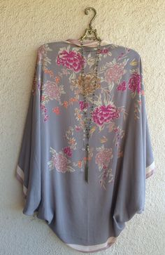 Image of New Arrival!! Lilac and violet asian floral gypsy boho beach kimono cocoon wrap