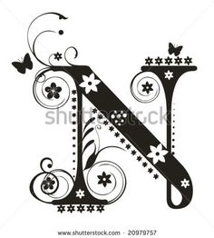 Fancy Letter N Tattoo Designs Cool