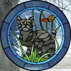Fran Stoval :: Stained Glass, Pastel and Mosaic Artist Cat Antique Stained Glass Windows, Stained Glass Panels, Leaded Glass, Stained Glass Art, Mosaic Glass, Stained Glass Patterns Free, Stained Glass Designs, Stained Glass Projects, Animal Original