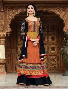 Red & Black Fancy Embroidered Anarkali Suit