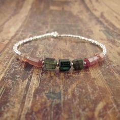 Pink & Green Watermelon Tourmaline Crystal Bracelet with Hill Tribe Silver Beads Beaded Beadwork Bracelets Stone Gemstone Woman's Bracelet on Etsy, $78.00