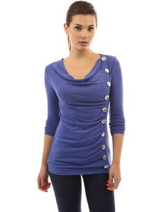 PattyBoutik Women's Cowl Neck Button Embellished Top: Amazon.co.uk: Clothing
