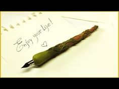 Making a dip pen with polymer clay Disclaimer: - Due to the nature of the products, techniques and tools I use in my projects (polymer clay, sharp and electr. Polymer Clay Pens, Calligraphy Handwriting, Dip Pen, Clay Tutorials, Journal Covers, Diy Clay, Fountain Pen, Diy Crafts, Crafty