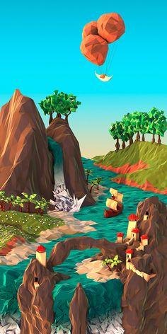 Low Poly Illustration by JR Schmidt Art And Illustration, Landscape Illustration, 3d Illustrations, Concept Art Landscape, 3d Landscape, Landscape Designs, Low Poly, Schmidt, Art Environnemental