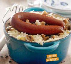 Zuurkoolstamppot met champignons - Recept - Jumbo Supermarkten