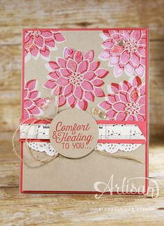 Create a fun shadow using the Flourishing Phrases stamp set and Whisper White Craft Ink.   StampinByTheSea.com