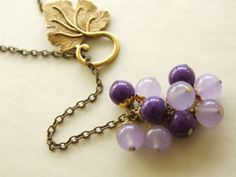 Grapes Lariat Necklace Light Purple Chalcedony by TammysBlossoms, $29.00