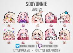 Emoji Stickers, Cute Stickers, Anime Chibi, Kawaii Anime, Twitch Streaming Setup, Discord Emotes, Overlays Cute, Chibi Maker, Twitch Channel