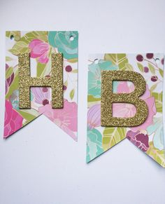 Customizable  Floral pattern banner  gold glitter by ADreamPaperie