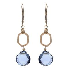 Elegant with a touch of modern geometry, these earrings feature navy blue quartz dangling from a hand-hammered gold-filled hexagon.