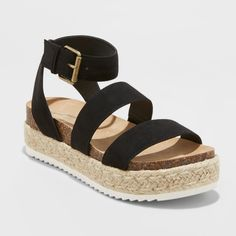 ec21759e962 Women s Agnes Wide Width Espadrille Sandals - Universal Thread Black 8.5W  Shoe Closet