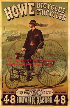 1800s Bicycle | Bicycle Co Howe of Glasgow Poster 1800s, Print