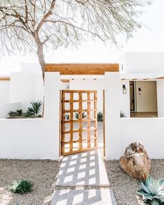 """Doorssssssss""""This gate started it all. The design inspiration behind our entire Gary Road project. It is original to the home and we loved the lines…"""" Cafe Shop Design, House Design, Nest Design, Exterior Design, Interior And Exterior, Spanish Style Homes, Spanish Revival Home, Spanish Bungalow, Desert Homes"""