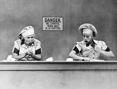 "Unforgettable!    Lucille Ball and Vivian Vance in the ever-popular chocolate factory scene from ""I Love Lucy"""
