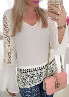 Stylish V-Neck Bell Sleeve Hollow Out Lace Blouse For Women White Chiffon Blouse, Chiffon Tops, Online Blouse Shopping, White Crochet Top, Strapless Tops, Sexy Shirts, Blouses For Women, Long Sleeve Tops, Fashion Outfits