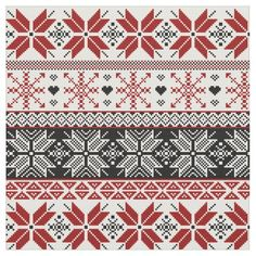 Red and Black Winter Fair Isle Pattern Fabric - patterns pattern special unique design gift idea diy Motif Fair Isle, Fair Isle Chart, Fair Isle Pattern, Fair Isle Knitting Patterns, Knitting Charts, Knitting Stitches, Sock Knitting, Vintage Knitting, Free Knitting
