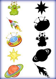 Space alien themed line matching preschool page Space Theme Preschool, Space Activities For Kids, Space Crafts For Kids, Preschool Printables, Preschool Worksheets, Preschool Activities, Planets Activities, Solar System Activities, Visual Perception Activities