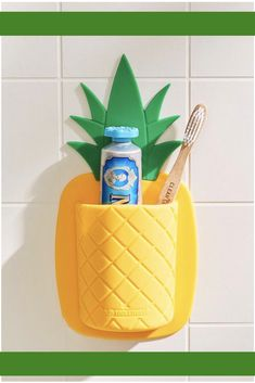 Tooletries Pineapple Toothbrush Holder | Urban Outfitters | pineapple lovers | Bathroom Decor | Sticks to the Wall for extra storage | cute unique gift idea | Affiliate Idea
