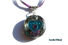 ColorfulOrgonite Orgone Pendant with Malachite, Selenite and clear Quartz on faux suede cord