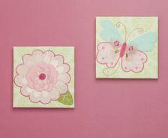 Kids Line Canvas pink Nursery Wall Art Bella - Butterfly Nursery Wall Decor