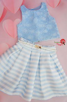 Conjunto de Festa Infantil Renda Azul Petit Cherie Baby Dress Design, Baby Girl Dress Patterns, Baby Girl Dresses, Little Girl Skirts, Skirts For Kids, Baby Girl Fashion, Kids Fashion, African Dresses For Kids, Fashion Dress Up Games