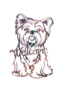 Personalized Yorkie Welcome Sign by VulcanixArt on Etsy