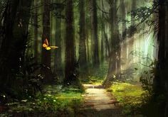 butterflies-flying-in-beautiful-forest-path-covred-in-trees-painting-36V4-715x500-MM-100.jpg (715×500)