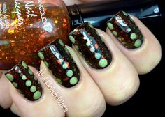 Very interesting mani from Nail Polish Wars using Wet n Wild Ebony Hates Chris, Klean Color Chunky Holo Black, and China Glaze L8R G8R