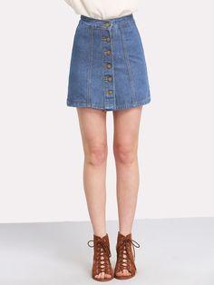 7d4e1191a4a  ad Button Front Denim Skirt. Price   14.00. Blue Casual Plain A Line