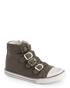 Amiana (Kids Girls) Grey Buckled High Top Sneakers
