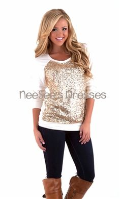 This sweater is perfection!! Shine Bright Like a Diamond sweater in cream with all over gold sequins