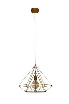 Himmeli Light Diamond Cage pendant Geometric Brass Gold matte Chandelier  Industrial Gold Original Himmeli Art Panselinos