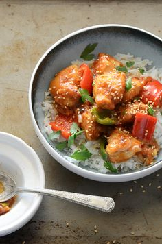 Sweet and Sour Chicken (lightened up #recipe).  Looks so good!!