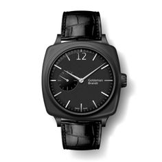 GB001-3 Black DLC case w. anti-fingerprint coating, Arched matte black dial with hand applied markers, Limited to 100 pieces