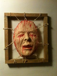 OMG! Awesome way to reuse old masks!!! Bloody Dead Skin Framed Face Halloween Haunt Prop FX Gory Horror Art Hand Made | eBay