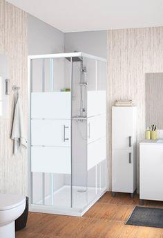 Mampara de ducha rectangular, corredera, vidrio serigrafiado, perfilería en blanco, modelo Optima.