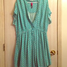 Cute teal dress This dress is adorable. It has short sleeves and has button and and cinched waist. It is super cute. I always paired it with a belt and a tank under. I wore or for my high school graduation and got tons of compliments. Pure Energy Dresses
