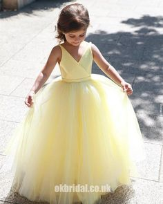 21fa903e7 A-Line Tulle Yellow Flower Girl Dresses, Popular Satin Little Girl Dresses,  FC1802