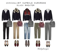 """Minimalist Wardrobe - Fall 2015 - Black Sweater"" by bluehydrangea ❤ liked on Polyvore featuring J.Crew, Boden, Madewell, Lost & Found, SEVENTY, Zara, Rêve D'un Jour and Banana Republic"
