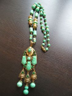 Vintage Art Deco Czech Neiger Peking Glass Brass Filigree Necklace | eBay