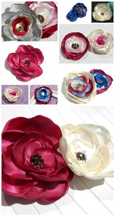 Hair accessories, flowers for hair, brooch, satin flowers, diy