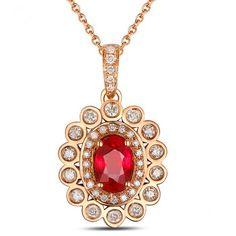ANNA Pendentif Rubis et Diamant en or Jaune 18 ct