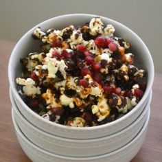 Vanilla Caramel Dark Chocolate Pomegranate Popcorn... just in time for the Oscars.