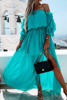 Off Shoulder Autumn Long Dress Women Long Sleeve Ruffles Split Holiday Robe 2021 New Summer Female Elegant A Line Party Dresses Dms Boutique, Maxi Dress With Slit, Ruffle Dress, Ruffles, Dress Brands, Fashion Dresses, Casual Chic, Casual Wear, Shoulder
