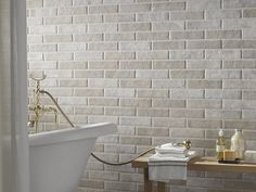 Porcelain stoneware wall tiles with brick effect TRIBECA -in Sand by Ceramica Rondine Brick Bathroom, Bathroom Flooring, Kitchen Flooring, Bathroom Wall, Bathroom Ideas, Brick Floor Kitchen, Small Bathroom, Master Bathroom, Brick Effect Wall Tiles