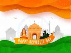 Indian Woman doing Namaste (Greeting) with Saluting Army Officer Republic Day Photos, Famous Monuments, Waves Background, Birds In Flight, Namaste, Military Tank, Army, Indian, Constitution
