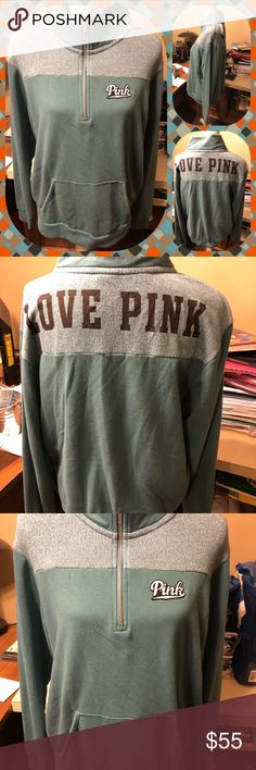 Pink Victoria's Secret Teal 3/4 Zip Sweatshirt Pink Victoria's Secret 3/4 zip sweatshirt.  Front pockets, size large, teal color.  LOVE PINK in black letters on back.  I don't trade.  Will price drop.  Prices discussed through offer option only. PINK Victoria's Secret Tops Sweatshirts & Hoodies