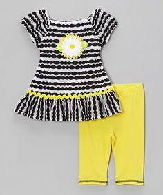 Look at this #zulilyfind! Sweet Heart Rose Yellow & Black Stripe Daisy Dress & Leggings - Toddler & Girls by Sweet Heart Rose #zulilyfinds