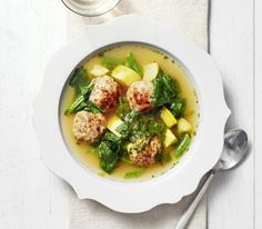 Summer Vegetable Soup With Pork and Ricotta Meatballs